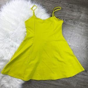 Zara TRF Neon Yellow V Neck Fit Flare Mini Dress